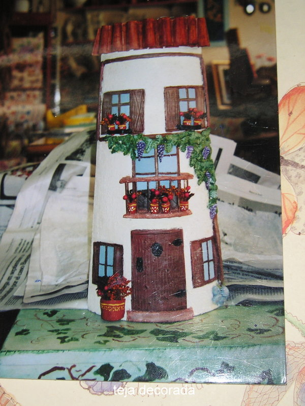 Im genes manualidades taracea for Pintura para tejas