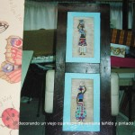 Viejo Cuarterón de ventana teñido y pintado Manualidades Taracea